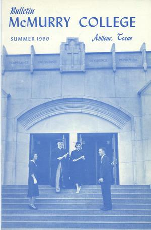 Bulletin of McMurry College, 1960 summer session