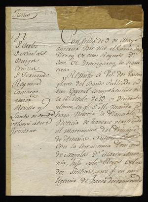 Primary view of [Edict from Don José de Yturrigaray to Citizens]