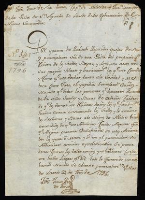 Primary view of [Order from José de Jesús de la Garza]