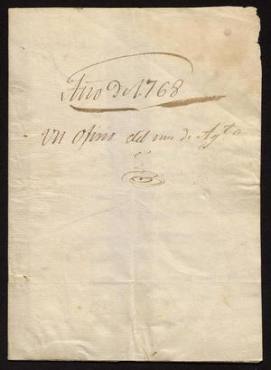 Primary view of object titled '[Letter from Juan Fernando de Palacio to José Martínez de Sotomayor, August 31, 1768]'.