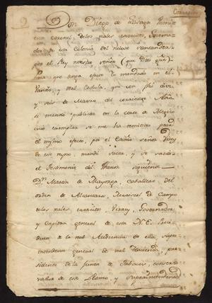 Primary view of [Decree from Diego de Lasaga]