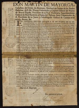 Primary view of [Printed Decree from Viceroy Martín de Mayorga Ferrer]