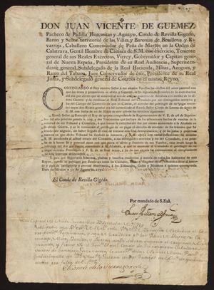 Primary view of [Decree from Viceroy Juan Vicente Güemez]