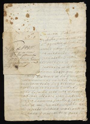 Primary view of [Correspondence Between Joseph Clemente Gutiérrez de Lara and Santiago de Jesús Sánchez]