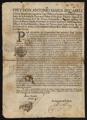 Primary view of [Royal Decree Promulgated by Don Antonio María Bucareli y Ursúa]