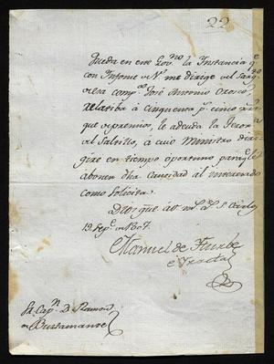 Primary view of [Message from Manuel de Iturbe Concerning Unused Lands]