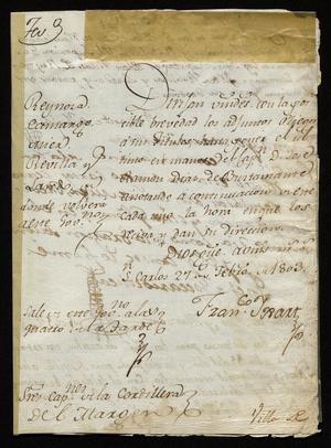 Primary view of [Letter from Francisco Yxart to Spanish Officials, February 27, 1803]