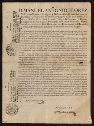 Primary view of [Printed Decree on Carlos III's Death]