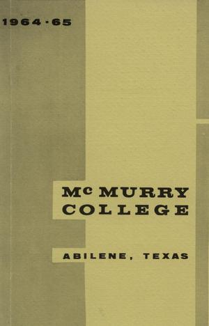 Primary view of object titled 'Bulletin of McMurry College, 1964-1965'.