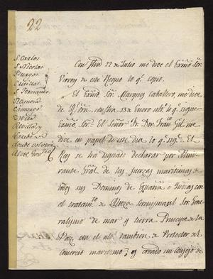 Primary view of [Announcement from Manuel de Iturbe Concerning the Navy]