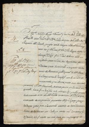 Primary view of [Correspondence between Joseph Nicolás Flores and Santiago de Jesús Sánchez]