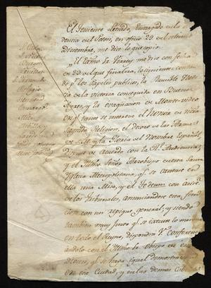 Primary view of [Notice from Manuel de Iturbe and the Viceroy]