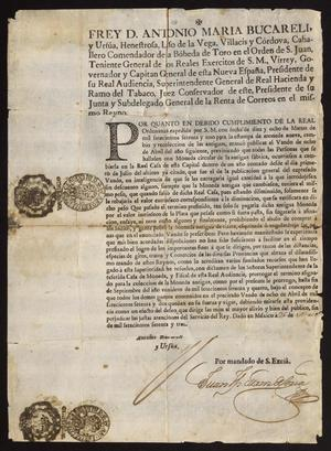 Primary view of [Royal Decree Promulgated by Viceroy Don Antonio María Bucareli y Ursúa]