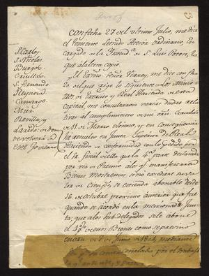 Primary view of [Message from Manuel de Iturbe to Justicias]