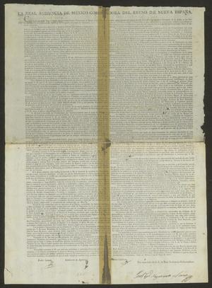 Primary view of object titled '[Announcement from the Real Audiencia de Mexico]'.