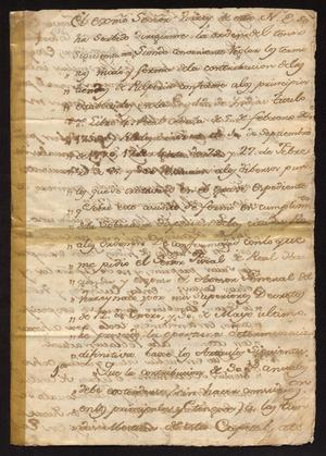 Primary view of object titled '[Decree from Governor Juan Miguel de Zozaya]'.