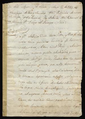 Primary view of [Decree from Santiago de Jesús Sánchez Regarding Bathing]