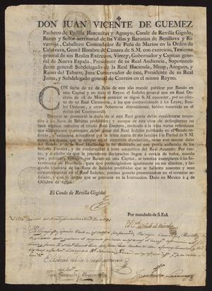 Primary view of [Printed Decree from Viceroy Güemez on Contraband]
