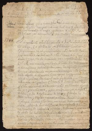 Primary view of [Decree Concerning the Sale of Tobacco from Viceroy Marques de Croix]