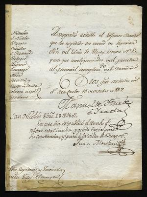 Primary view of [Notice from Manuel de Iturbe]