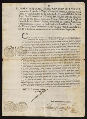 Primary view of object titled '[Royal Decree Promulgated by Viceroy Don Antonio María Bucareli y Ursúa]'.