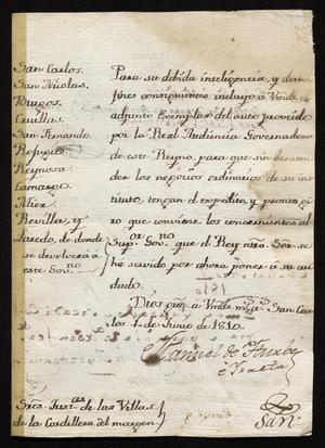 Primary view of [Message from Manuel de Iturbe with a Proclamation from the Real Audiencia]