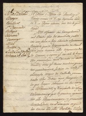 Primary view of [Decree from the Viceroy and Message from Joaquín Vidal]