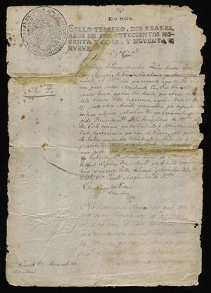 Primary view of [Letter from Santiago de Jesús Sánchez to Manuel de Escandón, December 31, 1798]
