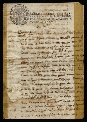 Primary view of object titled '[Letter from Petra Sánchez Uribe to the Governor of Nuevo Santander, August 20, 1795]'.