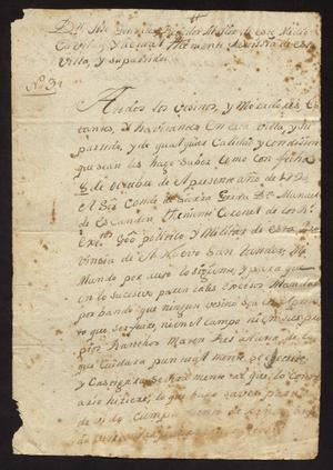 Primary view of [Orders from José González to Laredo Citizens]