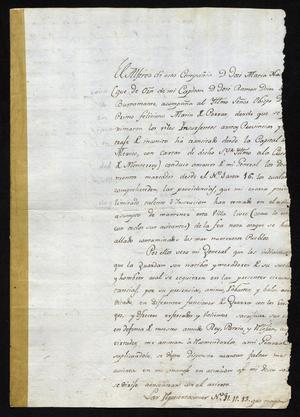 Primary view of object titled '[Message from José Antonio Benavides to Felix M. Calleja]'.