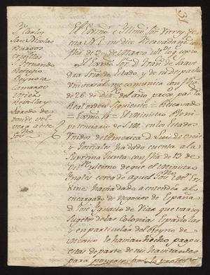 Primary view of [Message from Manuel de Iturbe with Orders from Spain]