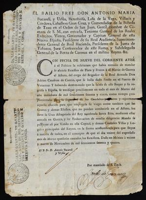 Primary view of [Notice Sent by Viceroy Don Antonio María Bucareli y Ursúa]