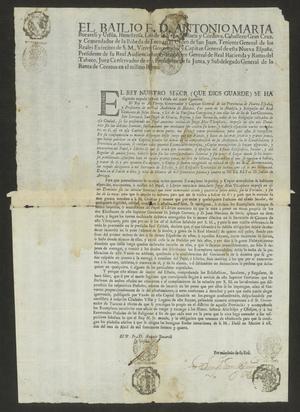 Primary view of [Royal Decree Promulgated by Don Antonio María Bucareli y Ursúa]