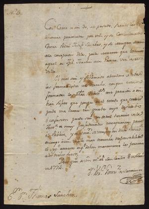 Primary view of [Letter from Vicente González de Santianés to Captain Tomás Sánchez, June 8, 1774]