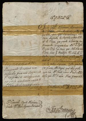 Primary view of [Request from José Fernando Vidaurri to the Governor]
