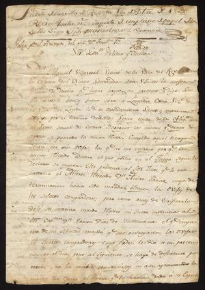 Primary view of object titled '[Statement from Manuel Villarreal to the Governor]'.