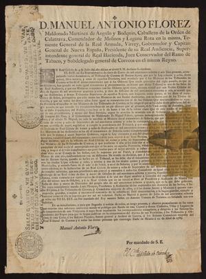 Primary view of [Decree from Viceroy Manuel Antonio Maldonado]