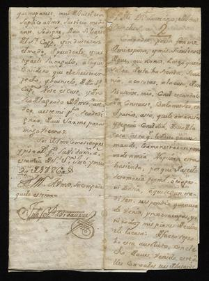 Primary view of [Letter from Joseph Fernando de Vidaurre to Santiago de Jesús Sánchez, May 9, 1786]