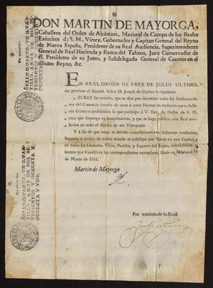 Primary view of object titled '[Decree from Viceroy Martín de Mayorga Ferrer]'.
