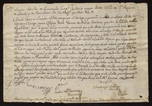 Primary view of [Decree from Captain Tomás Sánchez de la Barrera y Gallardo]