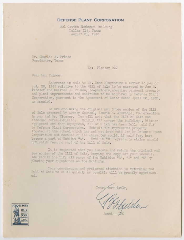 letter from defense plant corporation to charles a prince august