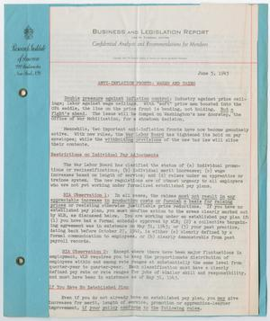 Primary view of object titled '[Business and Legislation Report, Confidential Analysis and Recommendations for Members]'.