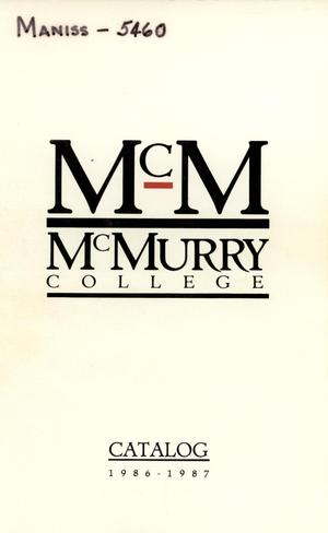 Primary view of object titled 'Bulletin of McMurry College, 1986-1987'.