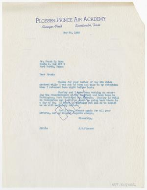 Primary view of object titled '[Letter from Joe B. Plosser to Frank X. Mara, May 24, 1943]'.