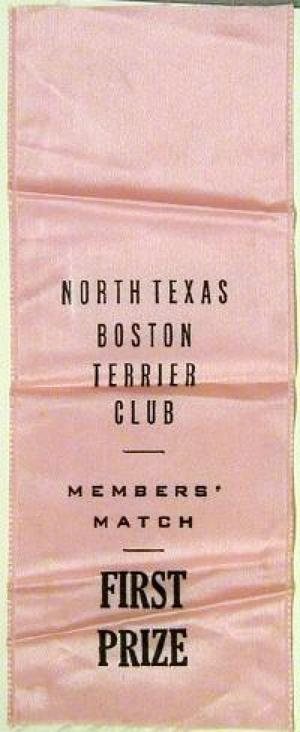 "Primary view of object titled '[Pink silk ""North Texas Boston Terrier Club"" first place ribbon]'."
