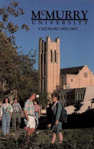 Primary view of object titled 'Bulletin of McMurry University, 1992-1993'.
