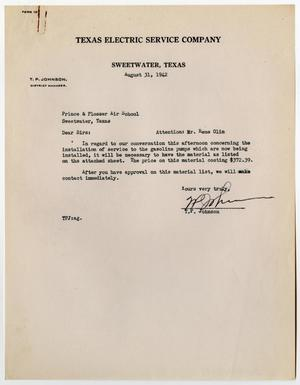 Primary view of object titled '[Letter from T. P. Johnson to Prince and Plosser Air School, August 31, 1942]'.