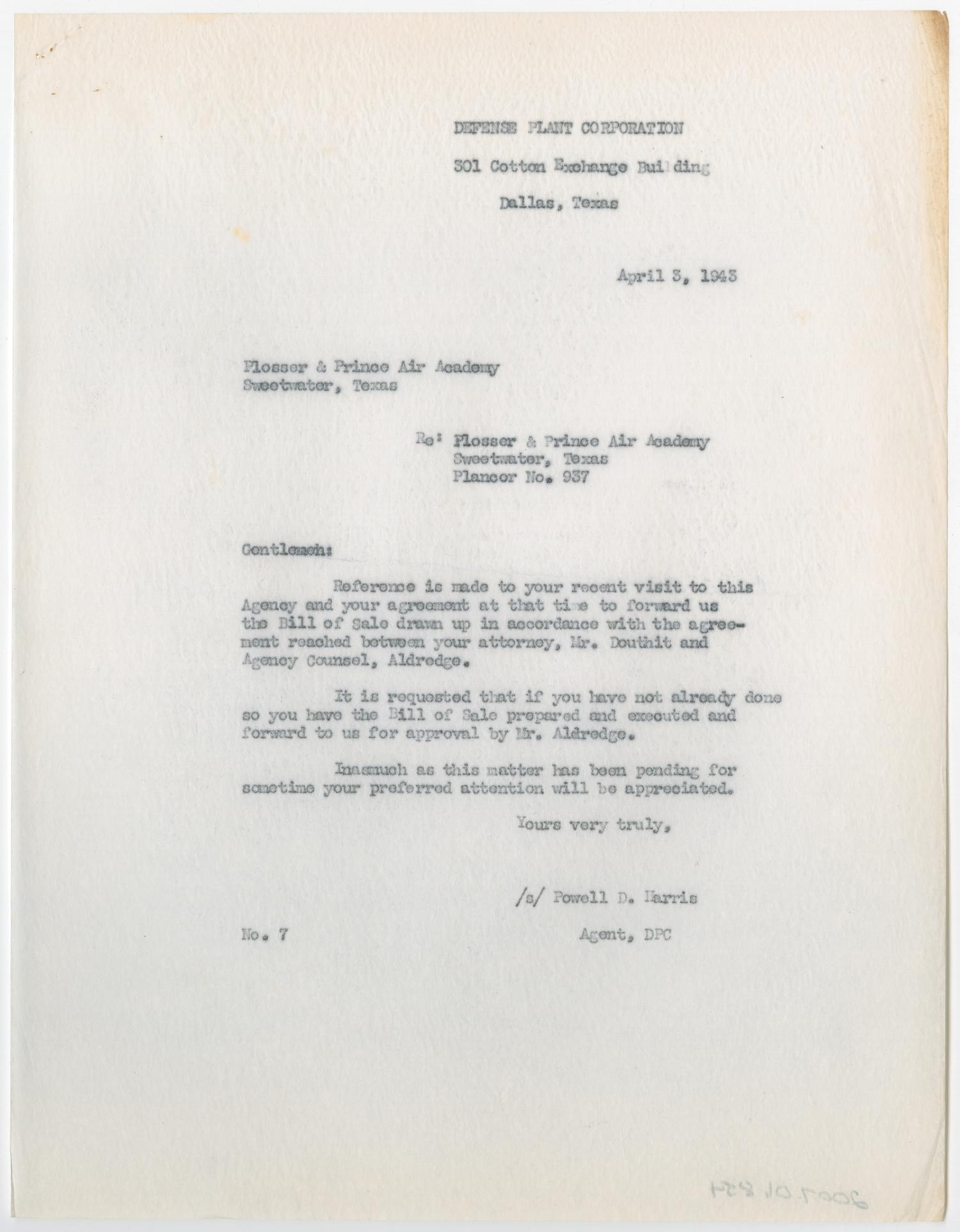 Letter From Powell D Harris To Plosser Prince Air Academy April 3
