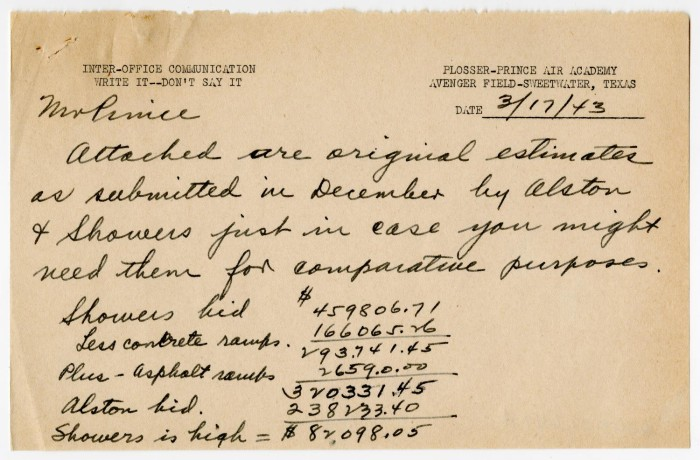 Inter-Office Communication from R. E. Olin to Charles A. Prince ...